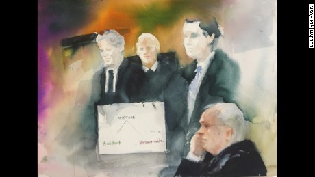 Courtroom sketch from right to left: Defendant Robert Bates, assistant district attorney Kevin Gray, District Judge William J. Musseman, Jr., defense lawyer Clark Brewster.