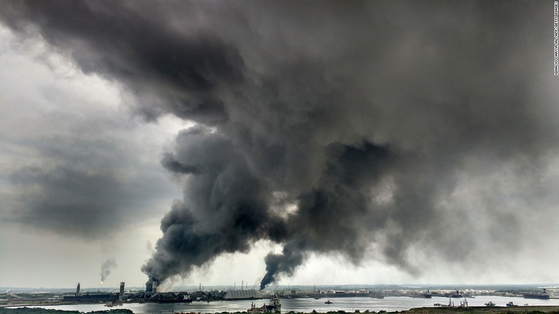 Smoke billows into the sky after a deadly explosion at a petrochemical plant in Coatzacoalcos, Mexico, on Wednesday, April 20.
