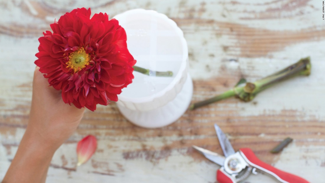 Song says she typically starts with the largest and prettiest flower as the first step. That becomes the focal point of the bouquet.