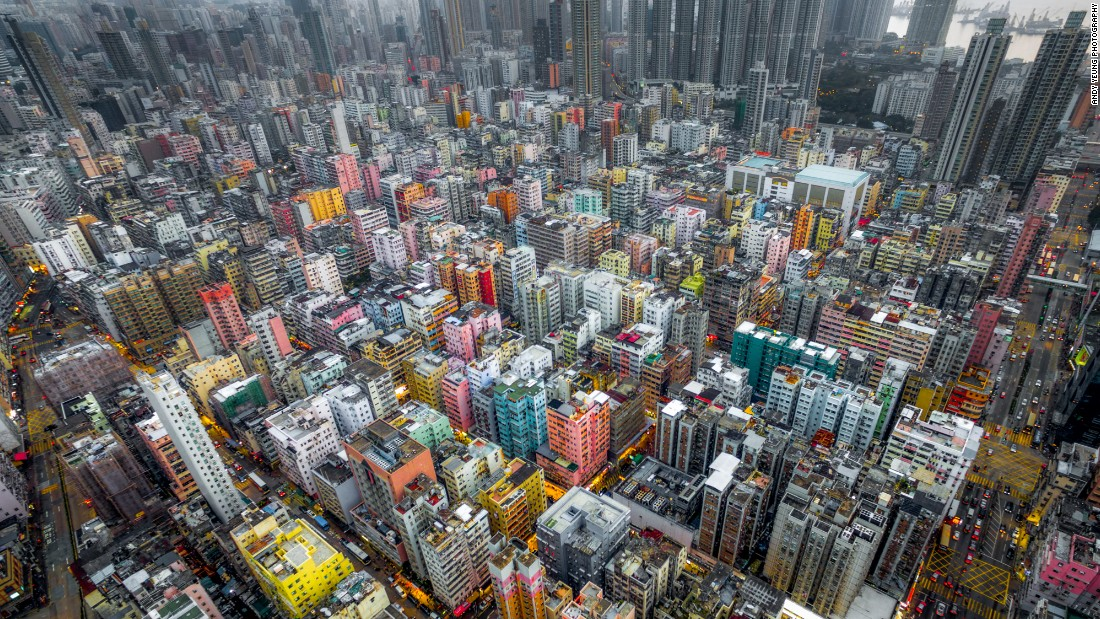 Order, chaos or both? Yeung's images explore the architectural character of Hong Kong from an aerial view.