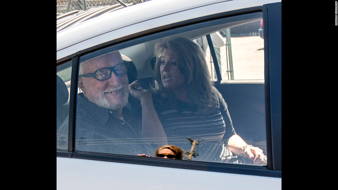 Jack McCullough, left, smiles from the back seat of his stepdaughter Janey O'Connor's rental car after he was released from the DeKalb County Jail in Sycamore, Illinois, on Friday, April 15. An Illinois judge vacated the conviction of the 76-year-old man in a 1957 killing and ordered his immediate release from prison Friday, meaning that one of the oldest cold cases to be tried in U.S. history has officially gone cold again.
