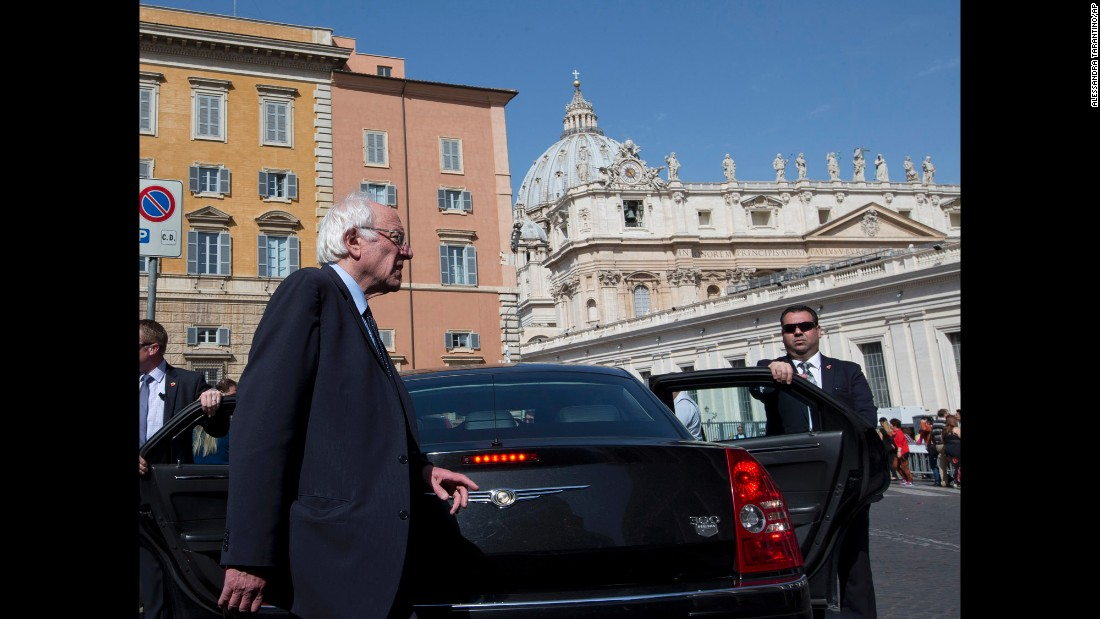 U.S. presidential candidate Bernie Sanders leaves after an interview with the Associated Press at the Vatican on Saturday, April 16. Sanders met with Pope Francis. Sanders says he was honored by the meeting.