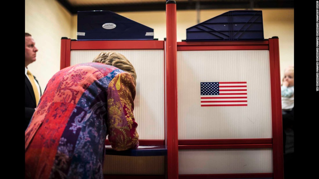 """On <a href=""""http://www.cnn.com/2016/04/20/politics/new-york-primary-takeaways/"""" target=""""_blank"""">New York state primary day</a>, former Secretary of State Hillary Clinton, along with her husband former President Bill Clinton, votes at her polling place in Chappaqua, New York, on Tuesday April 19. Clinton went on to win the New York primary."""