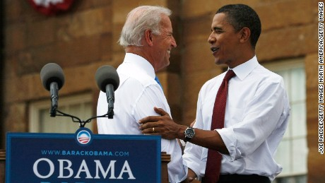 Then U.S. Sen. Barack Obama shakes hands with his Vice Presidential pick Sen. Joe Biden in front of the Old State Capitol August 23, 2008, in Springfield, Illinois.