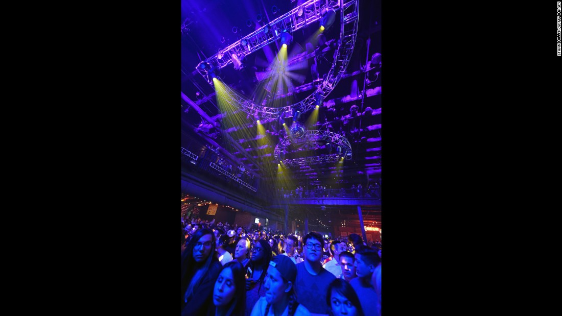 Purple lights illuminate the ceiling and crowd at Brooklyn Bowl Las Vegas as fans wait for a concert by Chvrches and Wolf Alice on April 21.