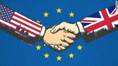 Illustration of handskake representing U.S. and UK relationship with EU flag in the background