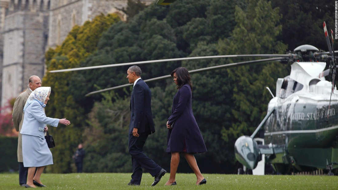Obama and the first lady are greeted by Queen Elizabeth II and Prince Phillip after landing by helicopter at Windsor Castle for a private lunch on April 22, 2016.