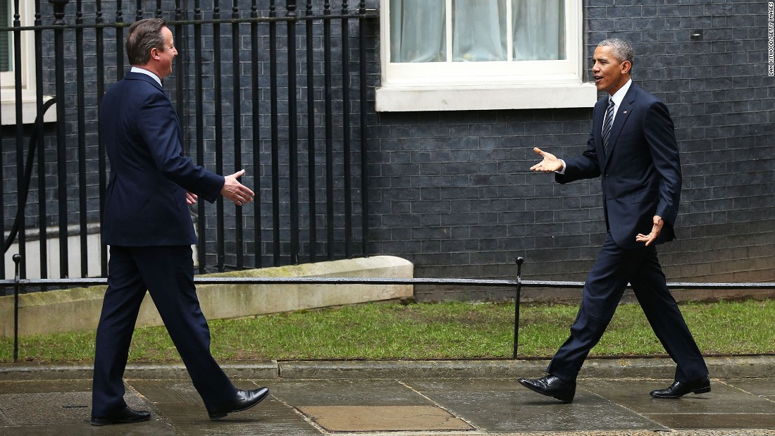"Obama arrives at Downing Street to meet with Cameron on April 22. <a href=""http://www.cnn.com/2016/04/22/politics/barack-obama-david-cameron-press-conference/index.html"">The American leader is urging British voters to reject the chance to leave the European Union</a> in a national referendum scheduled for June."
