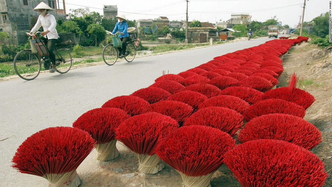 Incense sticks placed for drying in Vietnam, where making and trading incense sticks is an old business linked to the Buddhist culture and tradition.