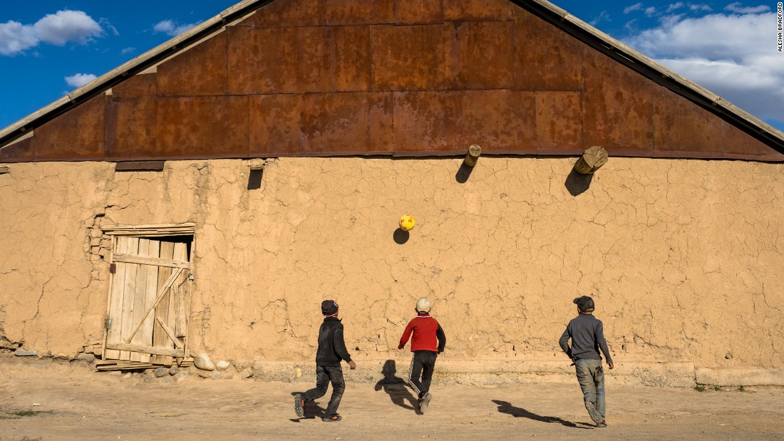 The author shared a game of football with local kids in Sary Moghul, Kyrgyzstan.