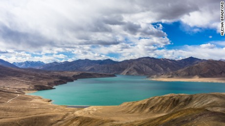 Bulunkul Lake spreads out over the Tajik landscape.