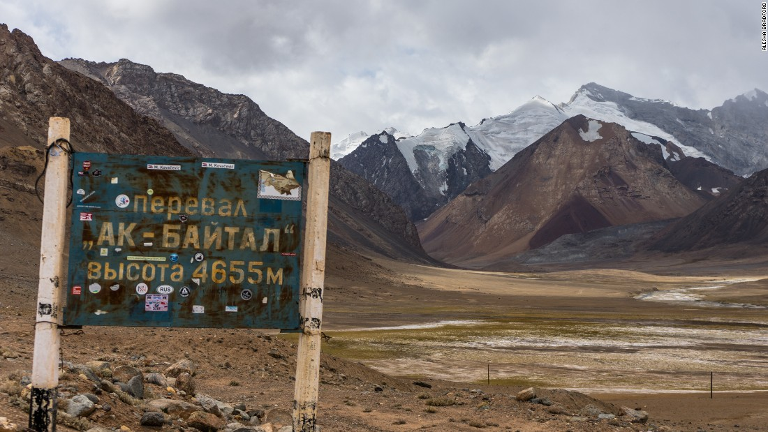 The Ak-Baital Pass though Tajikistan is the highest point along the Pamir Highway, at 4,655 meters above sea level.