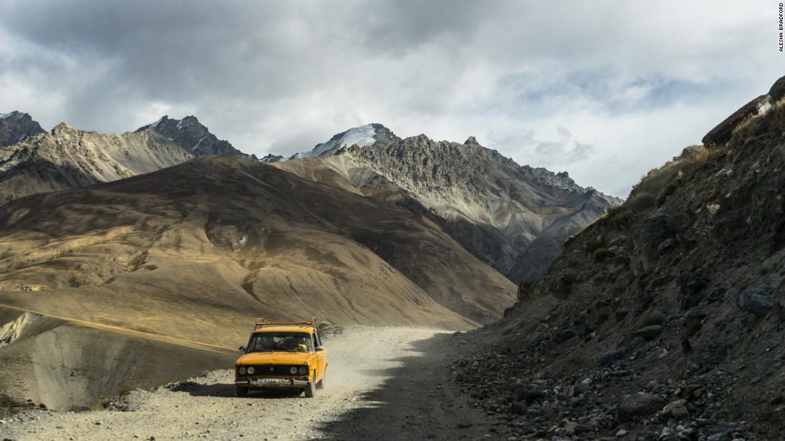 The Pamir Highway is a 2,038-kilometer-long road through the sands of Central Asia into the heart of isolated ranges. The road turns into rough and at times dangerous dirt and gravel when entering the Wakhan Corridor in Afghanistan (pictured).