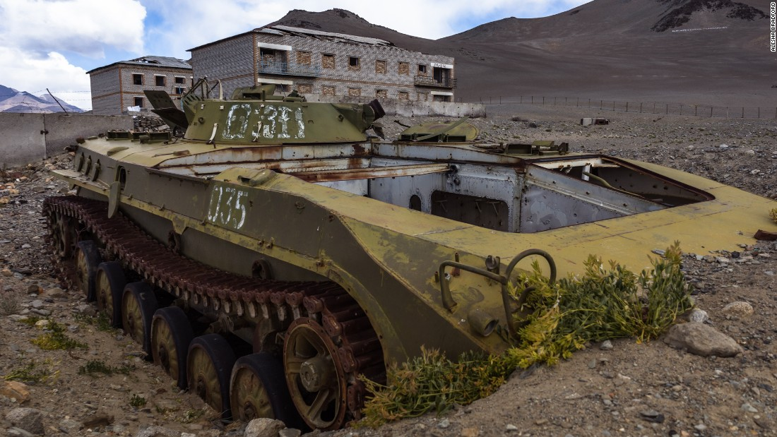The author encountered this shell of a Soviet tank near Karakul Lake.