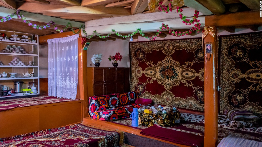 The interior of a traditional Pamiri house. Symbols and elements of their Ismaili religion dominate the design.