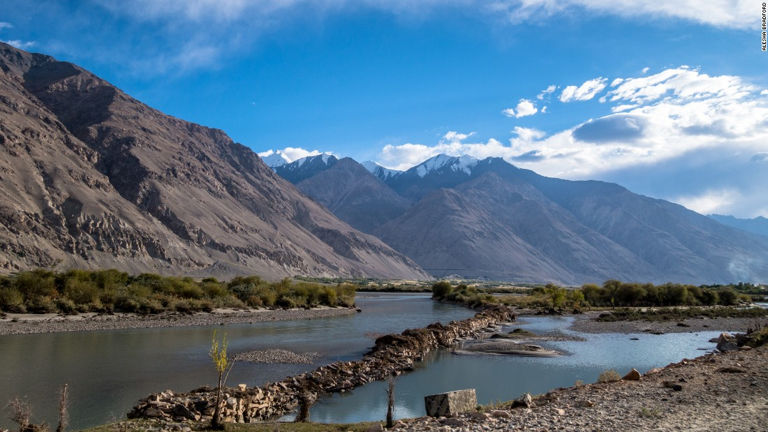 Once you enter the Wakhan Corridor, the Hindu Kush mountains tower above the Panj River.