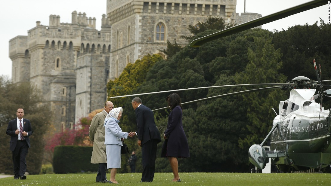 "President Barack Obama and his wife, first lady Michelle Obama, are <a href=""http://www.cnn.com/2016/04/22/politics/obama-queen-britain-visit/index.html"" target=""_blank"">greeted by Britain's Queen Elizabeth II and Prince Phillip</a> after landing by helicopter at Windsor Castle for a private lunch in Windsor, England, on Friday, April, 22"