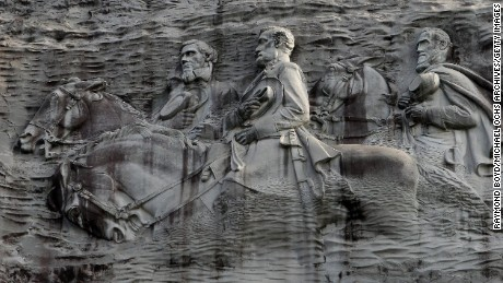 The Confederate Memorial at Stone Mountain Park depicts three Confederate leaders, President Jefferson Davis and Gens. Robert E. Lee and Thomas J. 'Stonewall' Jackson