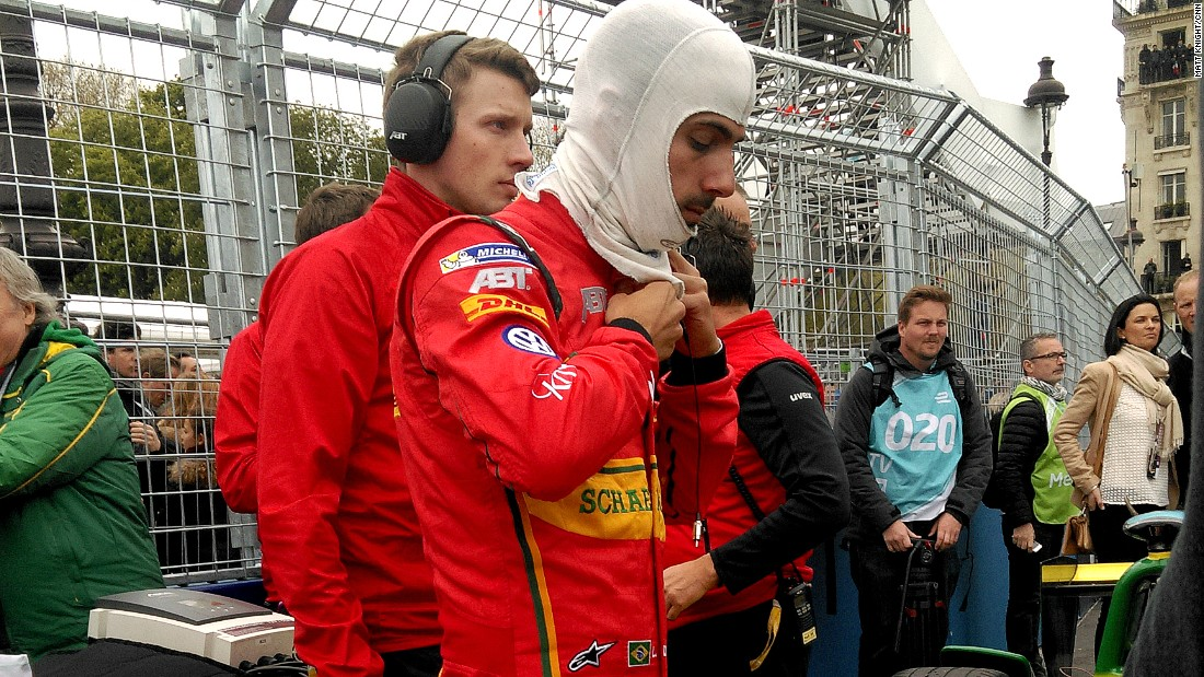 Di Grassi prepares on the grid before Saturday's race.