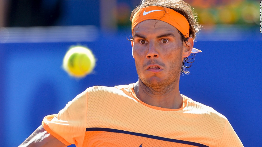Rafael Nadal eyes up a shot as he faces off against Philip Kohlschreiber in the semifinal of the Barcelona Open.
