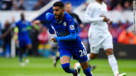 Riyad Mahrez celebrates Leicester's opening goal against Swansea at the King Power Stadium.