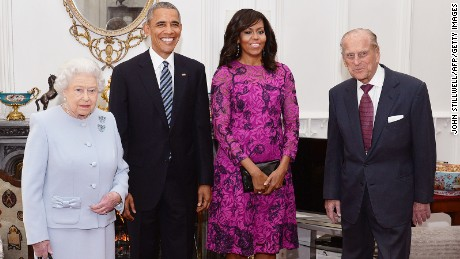 The Queen, US President Barack Obama, First Lady Michelle Obama and Prince Philip pose together at Windsor in 2016.