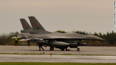 Norwegian Royal Air Force F-16s are shown during an exercise in 2013.