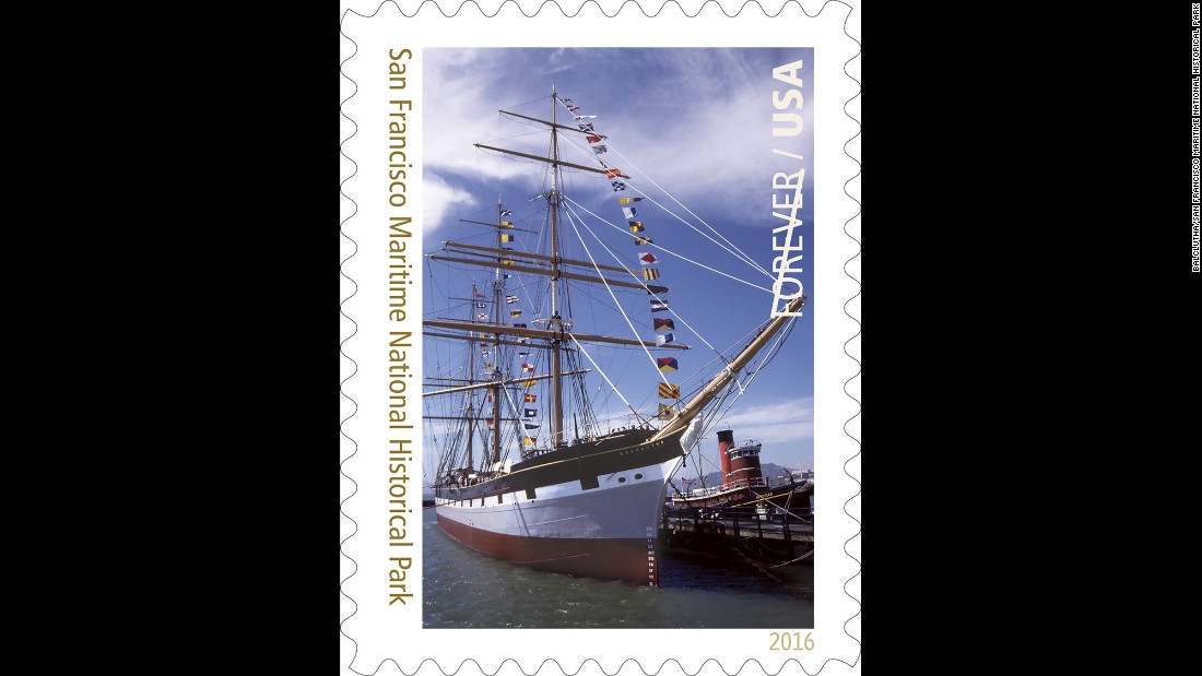 The square-rigger Balclutha is the star of the stamp featuring San Francisco Maritime National Historical Park near Fisherman's Wharf. The three-masted sailing ship is part of the park's historic ship collection. To the right is the 1907 steam tugboat Hercules.