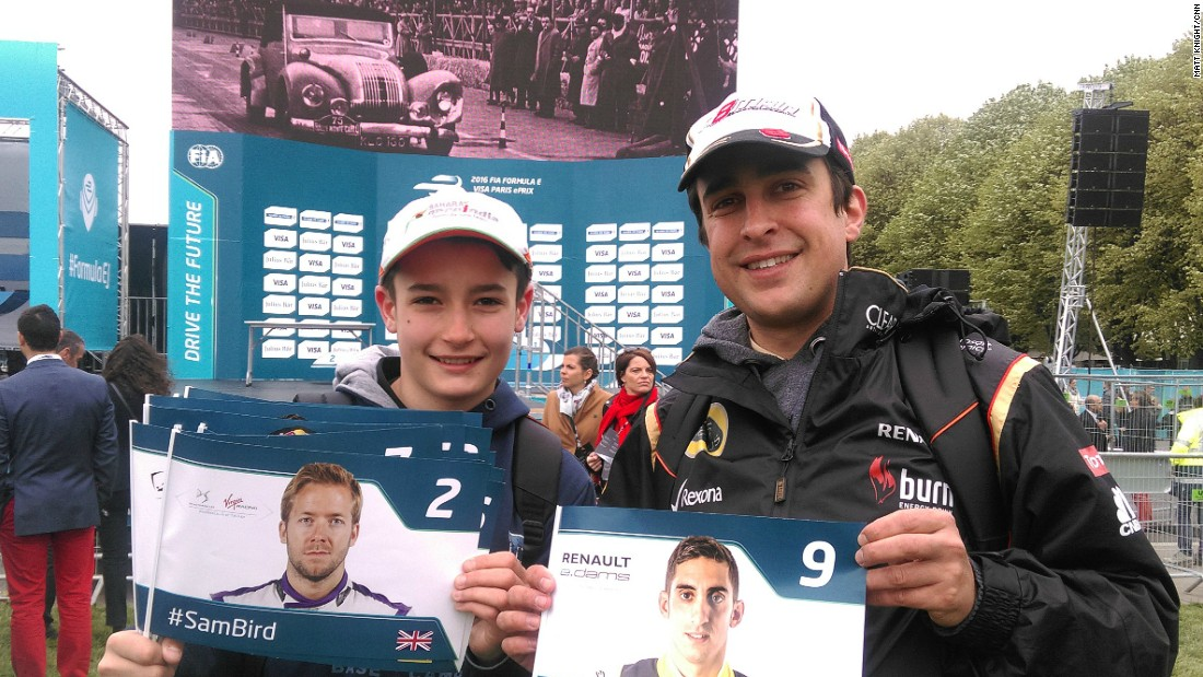 "We found brothers Romain (right) and Tibo enjoying the sights and sounds of the eVillage. They said the ""ambiance"" for the race was good and were hoping for a win on home soil for Renault e.Dams driver Nico Prost. <a href=""http://edition.cnn.com/2016/04/23/motorsport/formula-e-paris-di-grassi/index.html"" target=""_blank"">(Read race report)</a>"