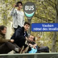 formula e paris fans on bus stop