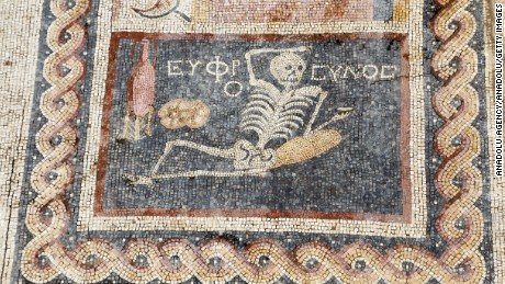 "A skeleton on a 2,400-year-old mosaic found in Turkey advises ""Be cheerful, enjoy your life."""