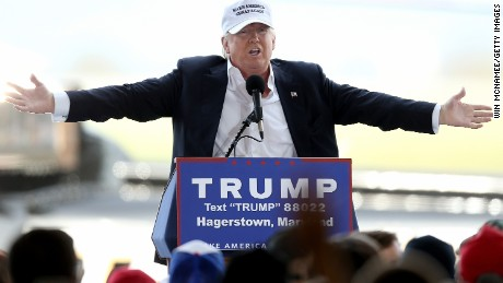 HAGERSTOWN, MD - APRIL 24:  Republican presidential candidate Donald Trump speaks while campaigning at the Hagerstown airport April 24, 2016 in Hagerstown, Maryland. Maryland holds their presidential primary on Tuesday, along with Delaware, Pennsylvania, Rhode Island and Connecticut.  (Photo by Win McNamee/Getty Images)