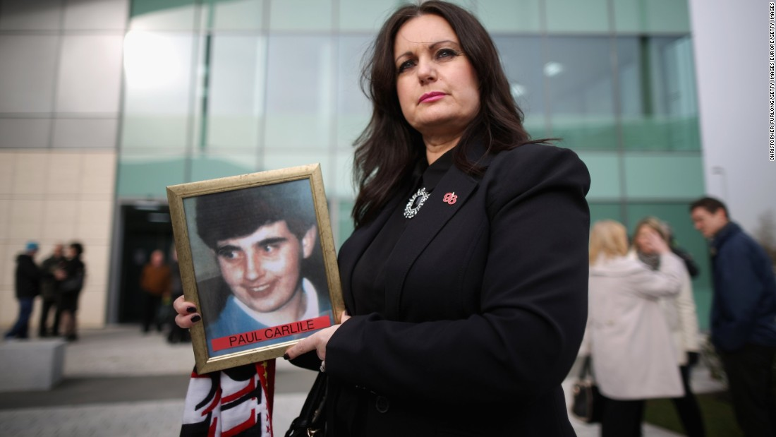 Donna Miller, the sister of victim Paul Carlile, arrives on the opening day of the new inquest into the Hillsborough deaths.