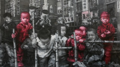 Li Tianbing's paintings show himself along with a number of imaginary brothers.