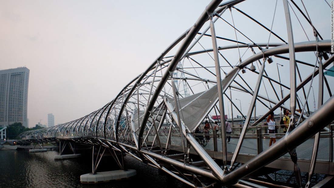 "When it opened in 2010, Singapore's Helix Bridge was the first to incorporate the shape of a double-helix. The structure is meant to symbolize life, renewal and growth, and sits near Moshe Safdie's <a href=""http://edition.cnn.com/2015/04/20/travel/moshe-safdie-interview-destination-singapore/"">$5.7 billion Marina Bay Sands casino</a>."