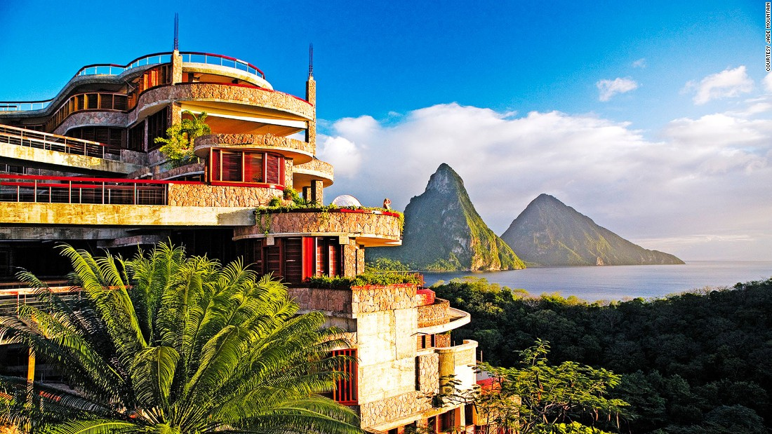 The extreme vertical architecture of Jade Mountain resort mirrors St. Lucia's famously steep Gros and Petit Piton mountains.