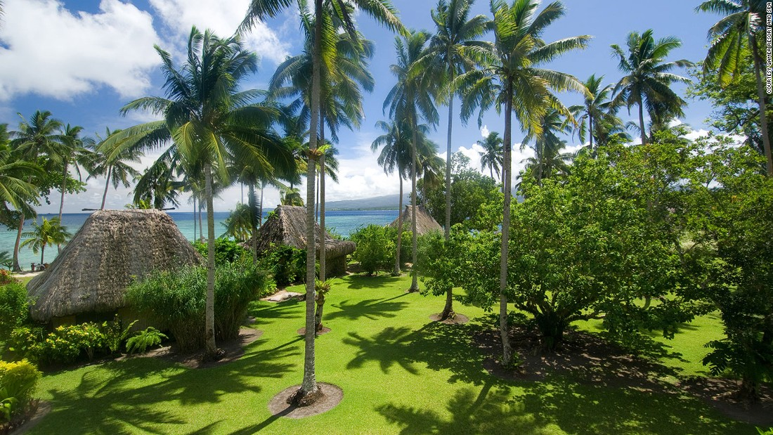 Qamea guests can stay in a collection of luxury thatched Fijian bures, or huts, with private swimming pools and Jacuzzis, set among coconut palms.