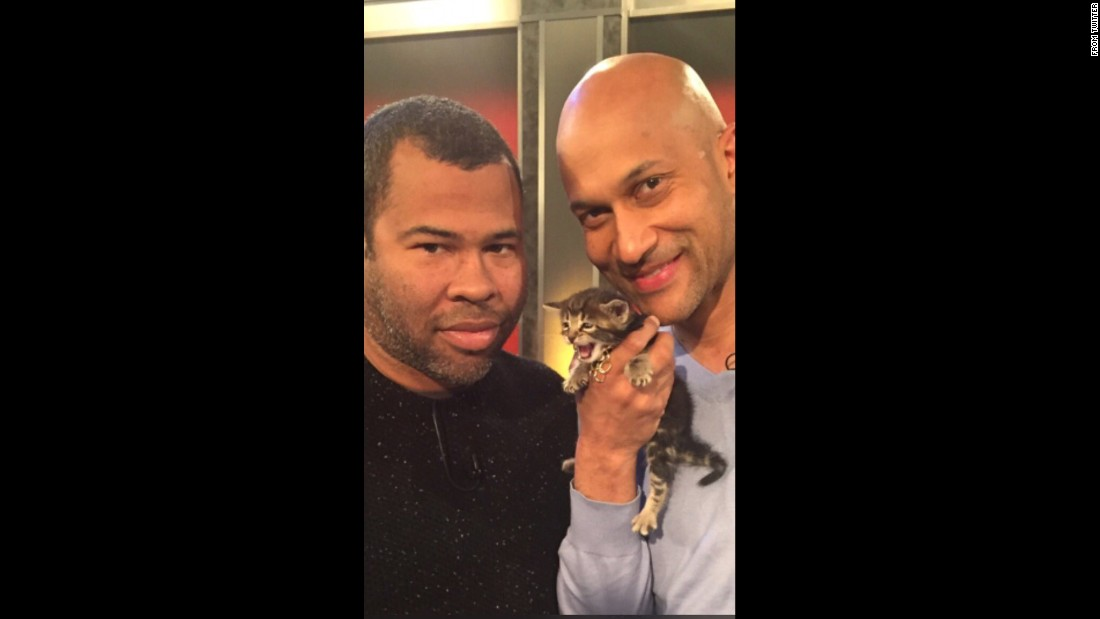 "Actor Jordan Peele, left, <a href=""https://twitter.com/JordanPeele/status/720257659929239552"" target=""_blank"">tweeted a photo with his ""Keanu"" co-stars</a> Keegan-Michael Key and Keanu the cat on Wednesday, April 13. ""Keanu, Key and I are bouncing around ATL right now,"" he said. ""See the movie and adopt a cat pls."""