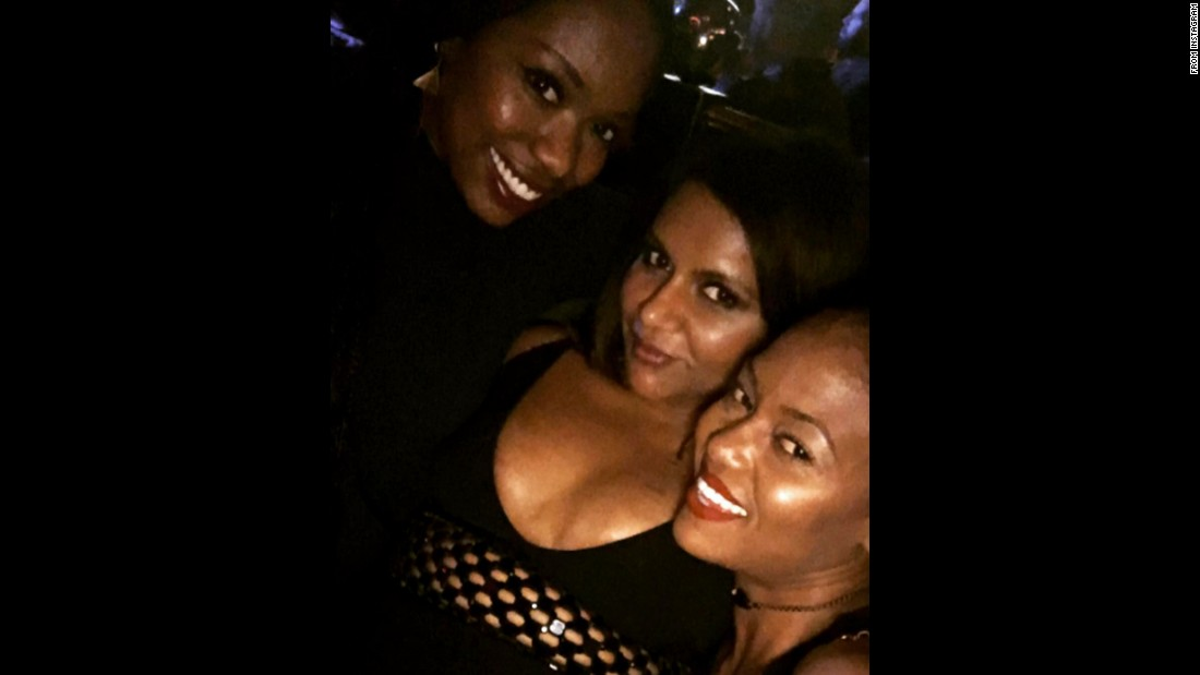"Xosha Roquemore, left, <a href=""https://www.instagram.com/p/BEmzj3YrQB2/"" target=""_blank"">attends a party</a> with fellow actresses Mindy Kaling, center, and Ashlee Olivia Jones on Sunday, April 24."