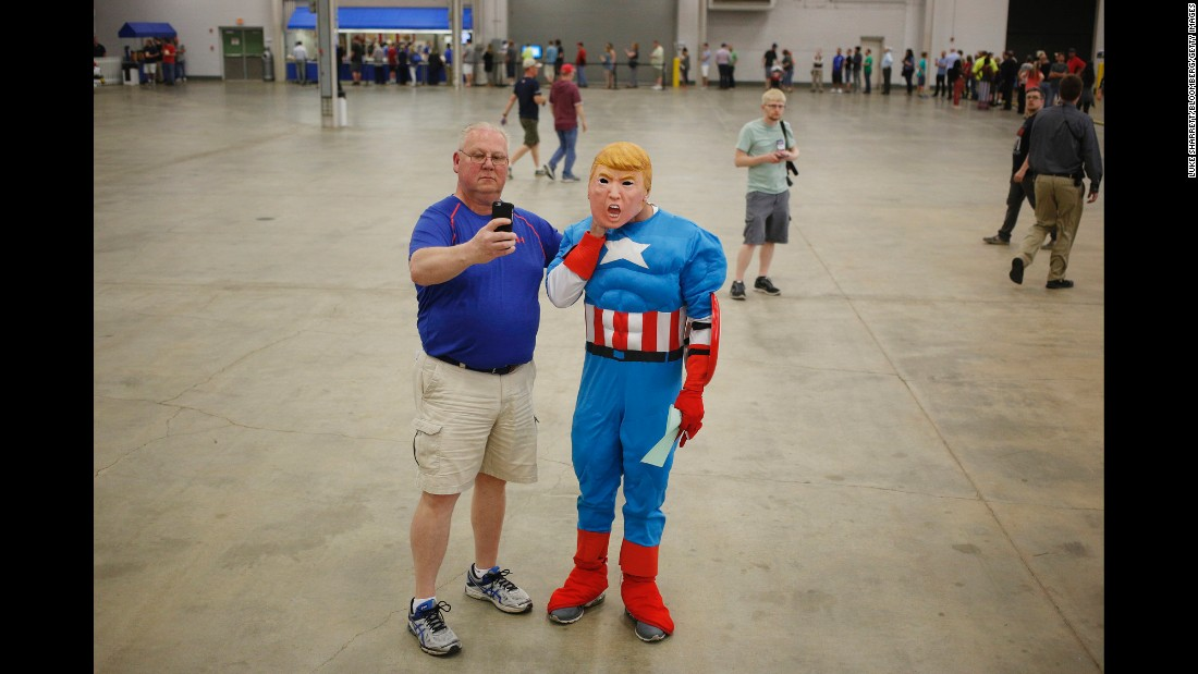 Speaking of Captain America, here's someone in the Avenger's costume -- along with a Donald Trump mask. Trump was in Indianapolis for a campaign event on Wednesday, April 20.