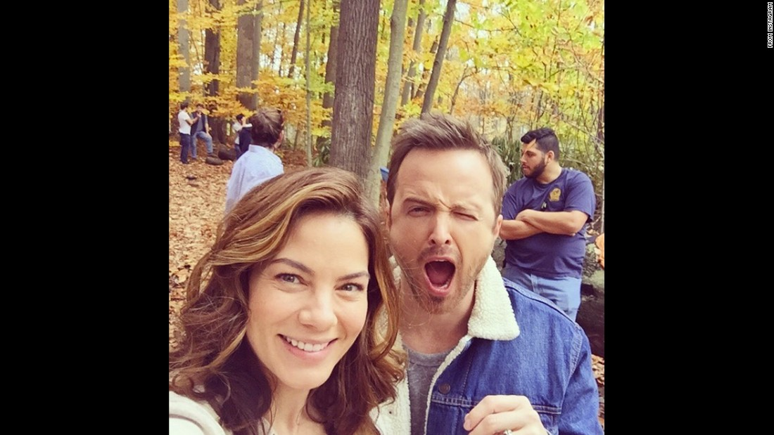 """Aaron Paul and I doing our best emoji impressions. He's cuter,"" <a href=""https://www.instagram.com/p/BD4ID_-NNBV/"" target=""_blank"">actress Michelle Monaghan said on Instagram</a> on Wednesday, April 6."