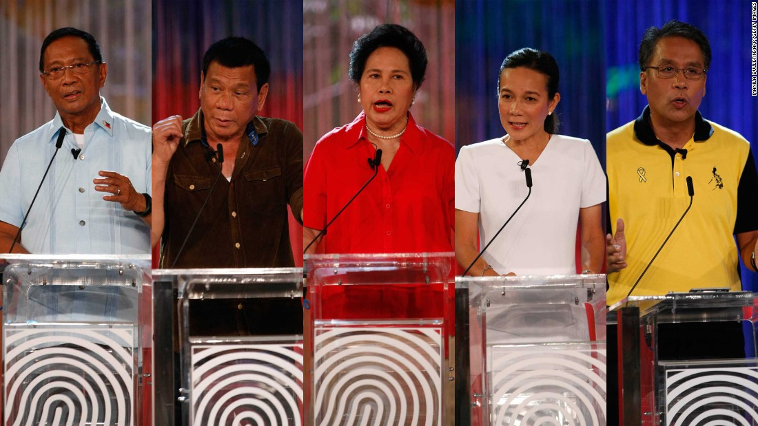 Five candidates are contesting the 2016 Philippines presidential elections. From left to right: Jejomar Binay, Rodrigo Duterte, Miriam Defensor Santiago, Grace Poe and Manuel 'Mar' Roxas.