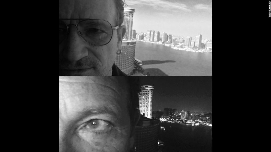 """""""Eye spy.. Cairo,"""" <a href=""""https://www.instagram.com/p/BDuV9AoAF85/"""" target=""""_blank"""">said U2 lead singer Bono</a> on Sunday, April 3."""