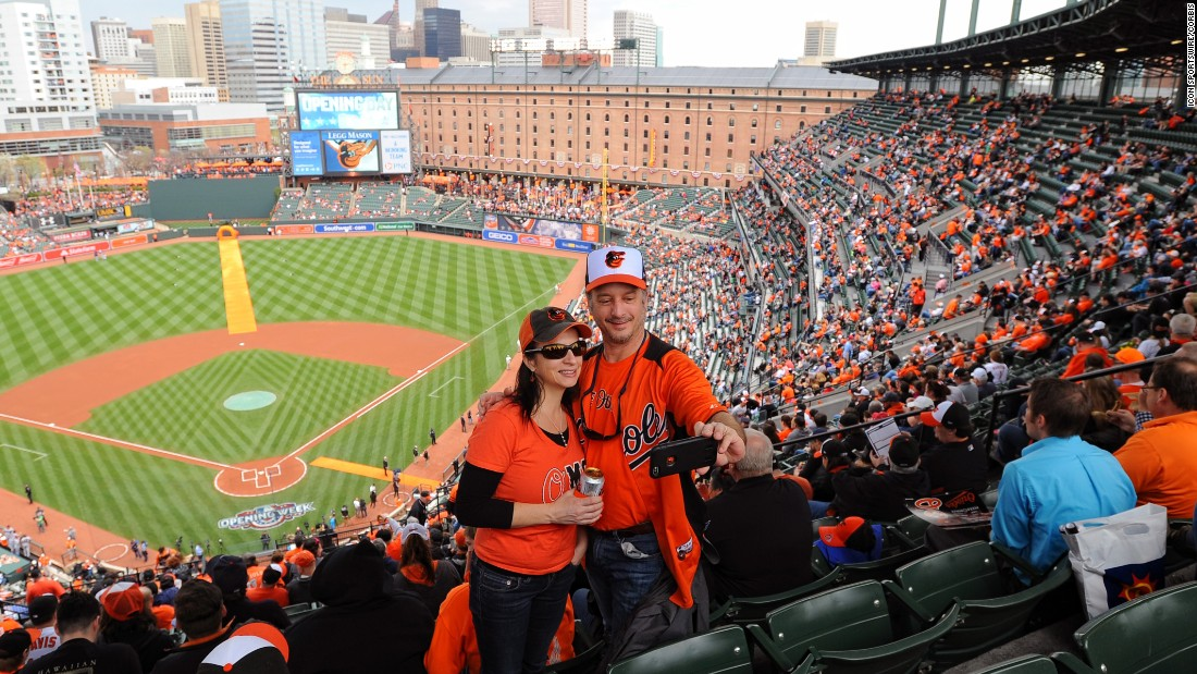 Baseball fans in Baltimore take a selfie on Opening Day, Monday, April 4.
