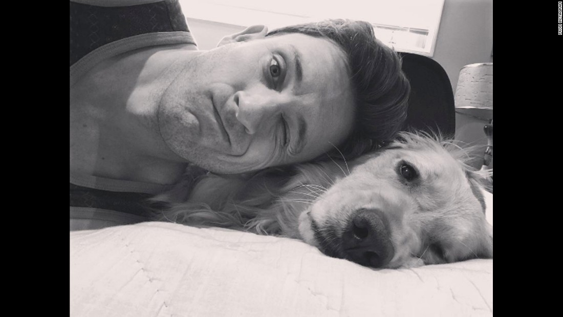 "Actor Tom Lenk takes a photo with his dog Charley on Monday, April 25. ""Charley is looking more and more like her father everyday day. Or is it he other way around? I don't know any more. Either way, I'm so proud,"" <a href=""https://www.instagram.com/p/BEoFNrNLVeg/"" target=""_blank"">Lenk said on Instagram.</a>"