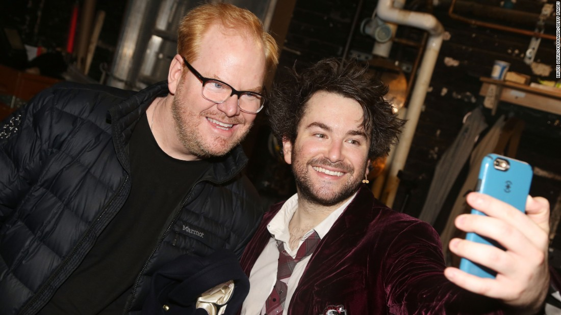 "Actor Alex Brightman snaps a selfie with comedian Jim Gaffigan backstage at the Broadway musical ""School of Rock"" on Sunday, April 3."