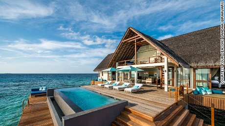 Landaa Giraavaru's Water Villas have floor-to-ceiling windows.