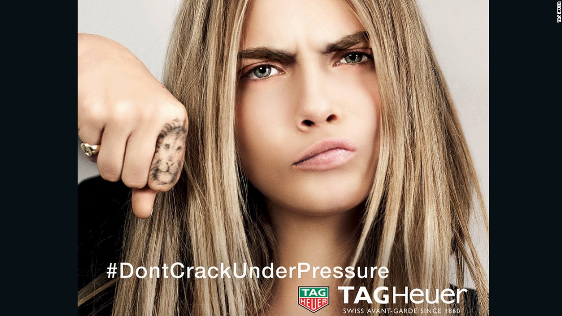 British model Cara Delevingne in a current advert for Tag Heuer -- the slogan was penned in 1990 by rugby-player-turned-ad-man Brett Gosper.