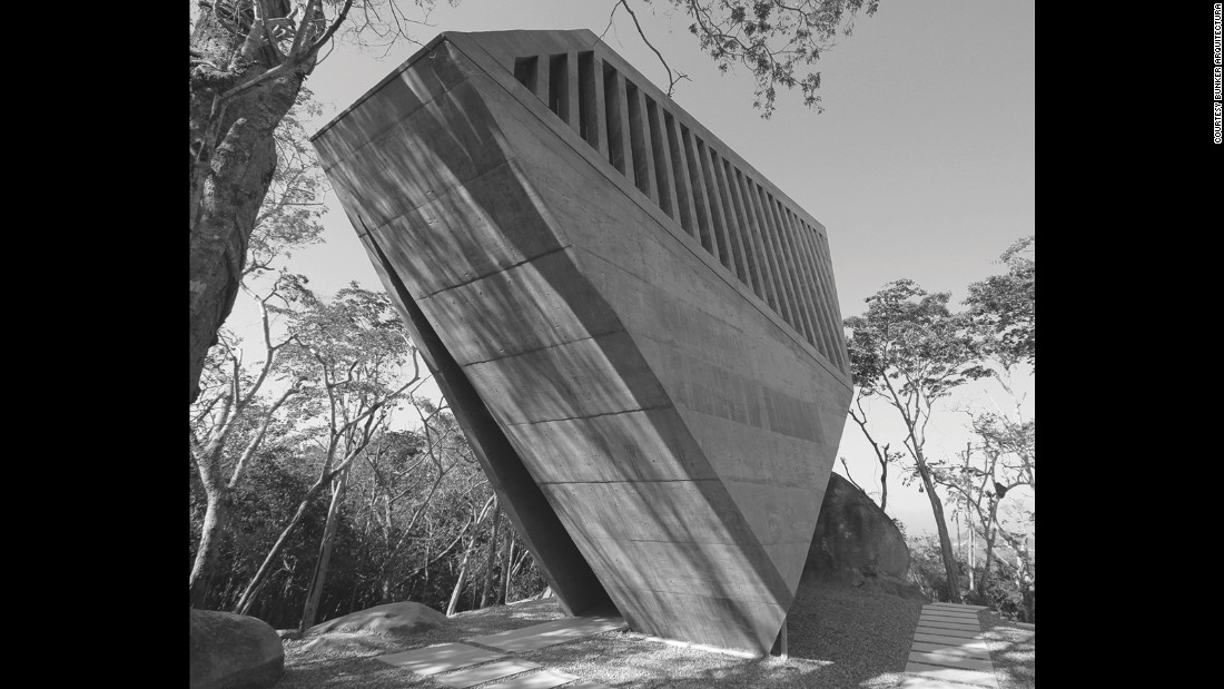 Chadwick suggests Brutalist buildings have theatrical qualities to them -- perhaps why the style lends itself so well to public and ceremonial buildings, such as the Sunset Chapel in Mexico. A rectilinear boulder dropped among forest greenery, from the inside it makes maximum use of the stunning vistas around it.