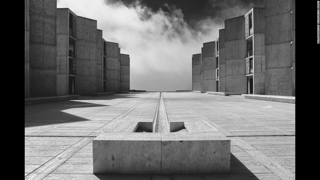 Designed by Louis Khan, the Salk Institute is another example of large-scale public Brutalism. Commissioned by Dr Jonas Salk, the creator of the polio vaccine, and intended for use as a Biology department, Khan took the concrete boulevard and angled the blocks' windows to face the altogether softer sight of the Pacific Ocean.